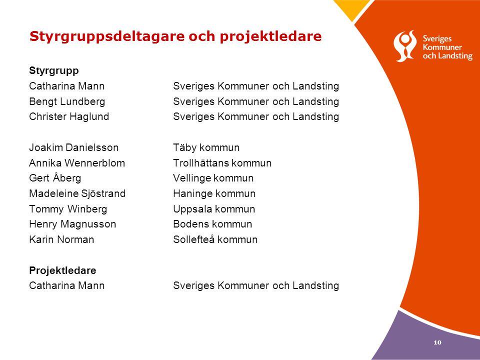 10 Styrgruppsdeltagare och projektledare Styrgrupp Catharina MannSveriges Kommuner och Landsting Bengt LundbergSveriges Kommuner och Landsting Christe