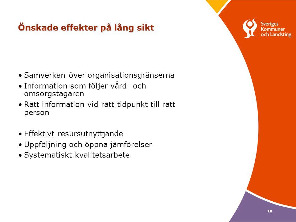 18 Önskade effekter på lång sikt Samverkan över organisationsgränserna Information som följer vård- och omsorgstagaren Rätt information vid rätt tidpu