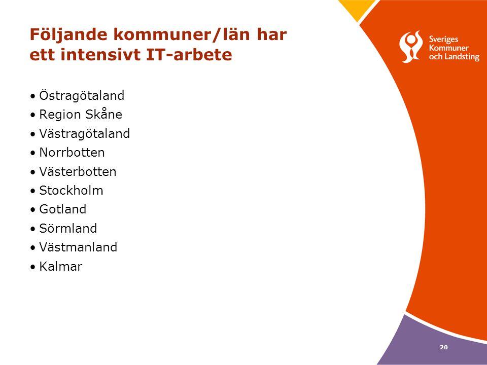 20 Följande kommuner/län har ett intensivt IT-arbete Östragötaland Region Skåne Västragötaland Norrbotten Västerbotten Stockholm Gotland Sörmland Väst