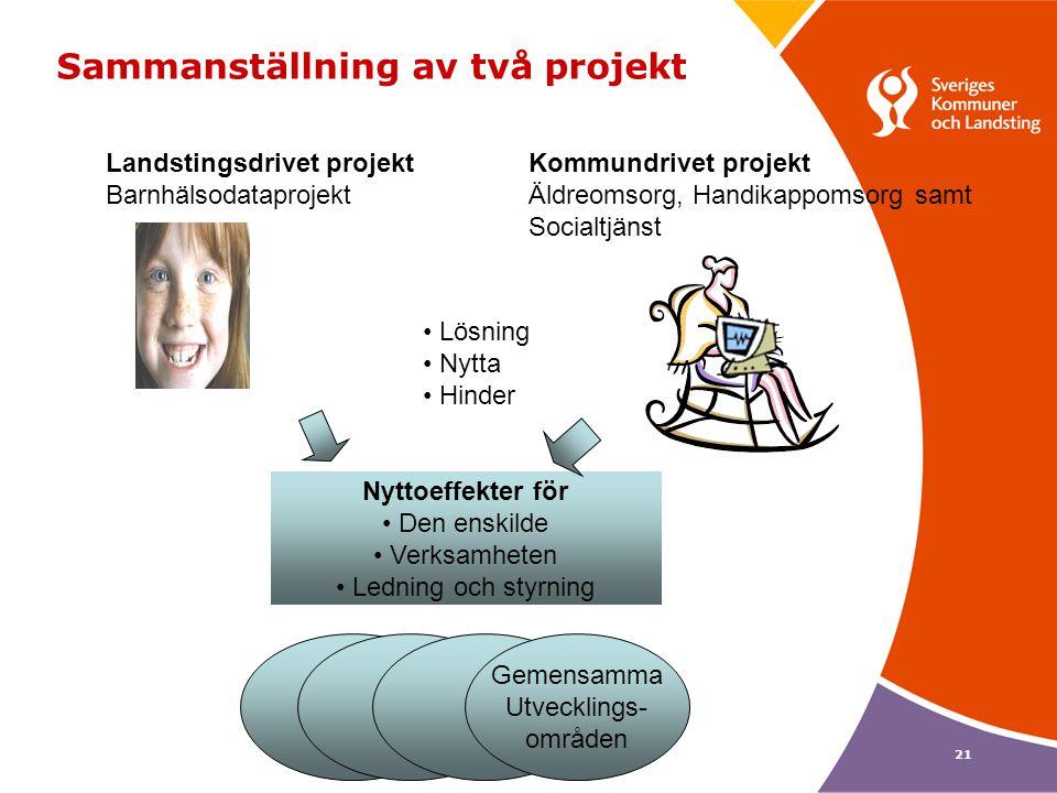 21 Sammanställning av två projekt Landstingsdrivet projektKommundrivet projekt BarnhälsodataprojektÄldreomsorg, Handikappomsorg samt Socialtjänst Lösn