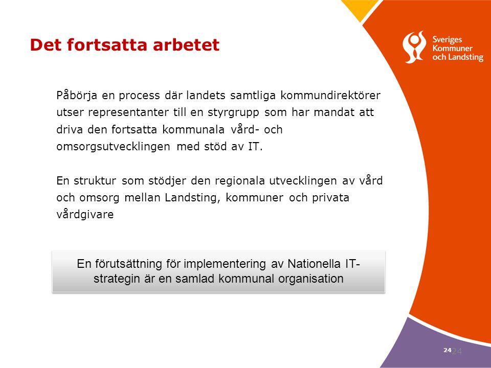 24 Det fortsatta arbetet Påbörja en process där landets samtliga kommundirektörer utser representanter till en styrgrupp som har mandat att driva den