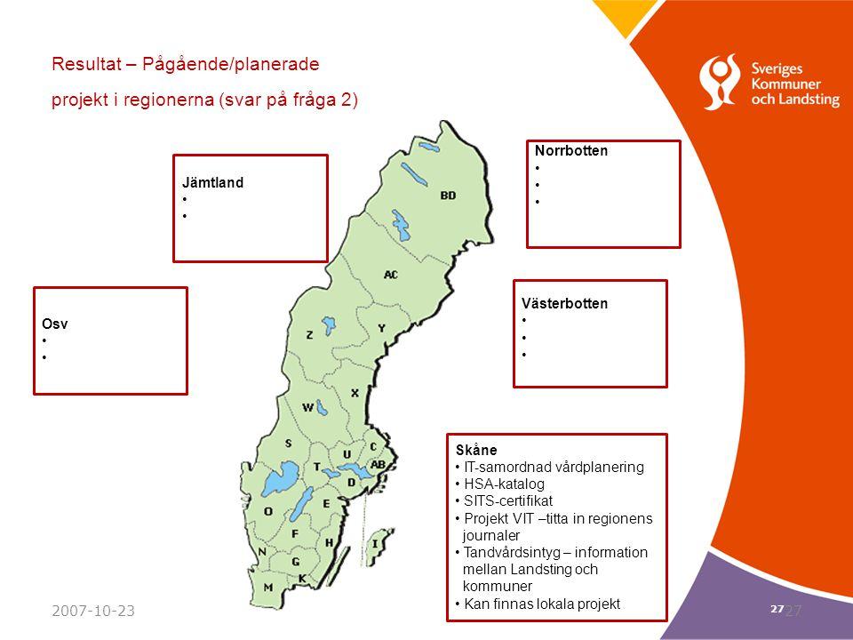 27 Resultat – Pågående/planerade projekt i regionerna (svar på fråga 2) Norrbotten Västerbotten Jämtland Osv Skåne IT-samordnad vårdplanering HSA-kata
