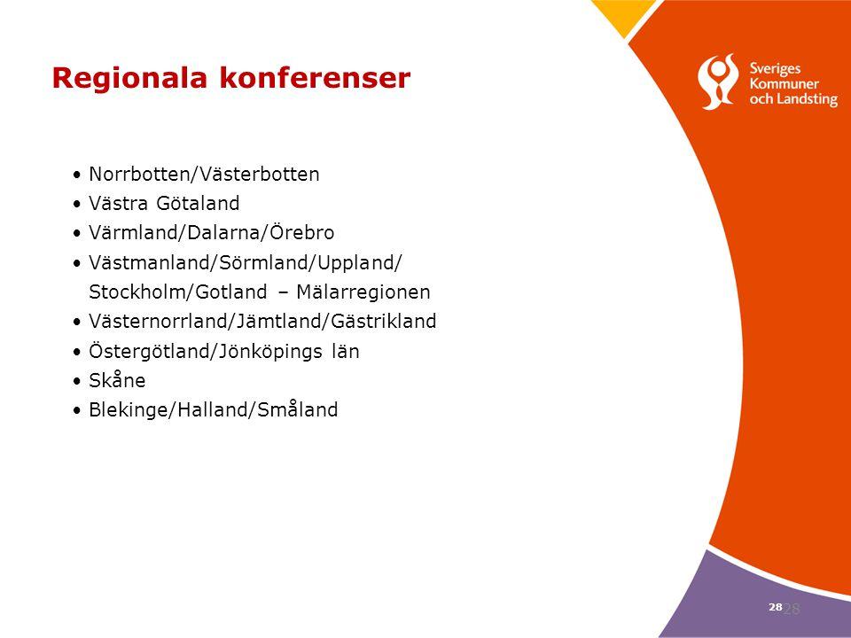 28 Regionala konferenser Norrbotten/Västerbotten Västra Götaland Värmland/Dalarna/Örebro Västmanland/Sörmland/Uppland/ Stockholm/Gotland – Mälarregion