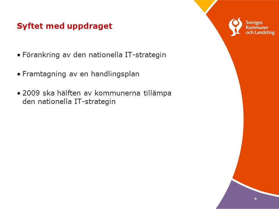 4 Syftet med uppdraget Förankring av den nationella IT-strategin Framtagning av en handlingsplan 2009 ska hälften av kommunerna tillämpa den nationell