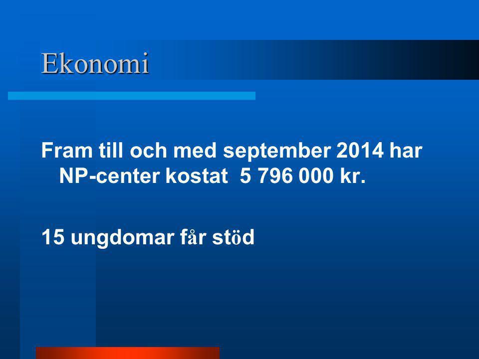 Ekonomi Fram till och med september 2014 har NP-center kostat 5 796 000 kr. 15 ungdomar f å r st ö d