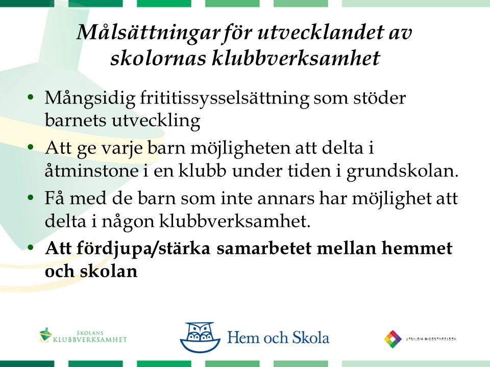 Målsättningar för utvecklandet av skolornas klubbverksamhet  Mångsidig frititissysselsättning som stöder barnets utveckling  Att ge varje barn möjligheten att delta i åtminstone i en klubb under tiden i grundskolan.