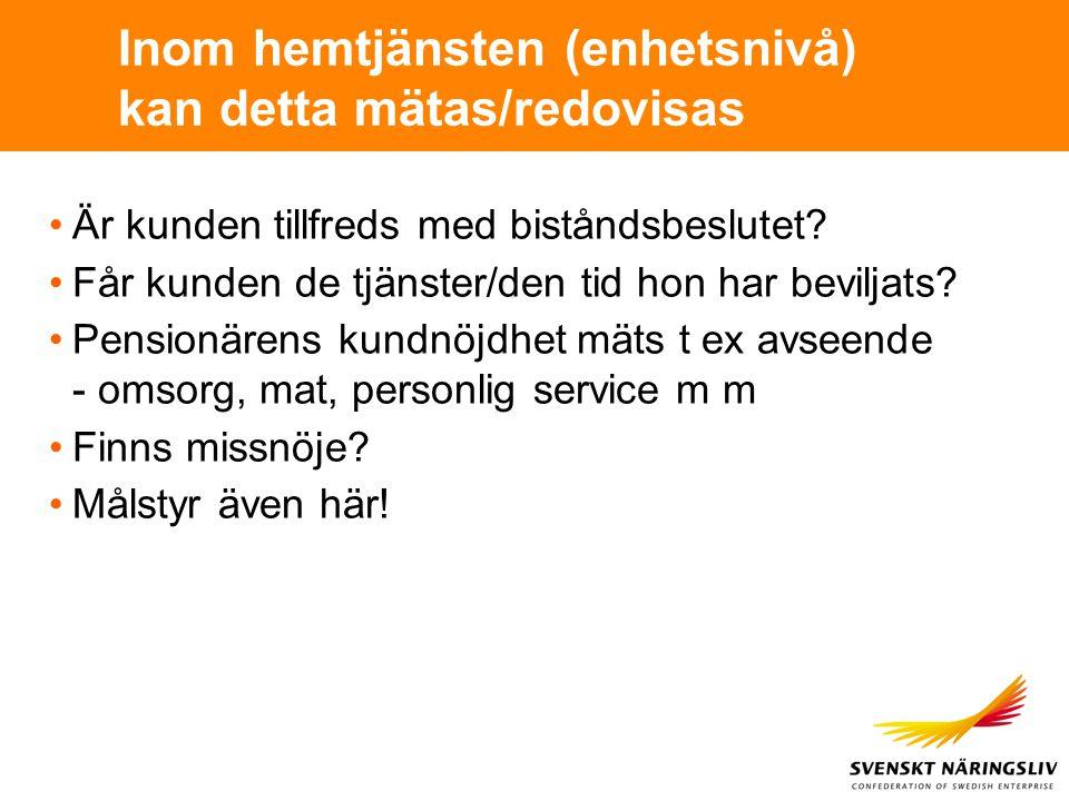 Inom hemtjänsten (enhetsnivå) kan detta mätas/redovisas Är kunden tillfreds med biståndsbeslutet? Får kunden de tjänster/den tid hon har beviljats? Pe