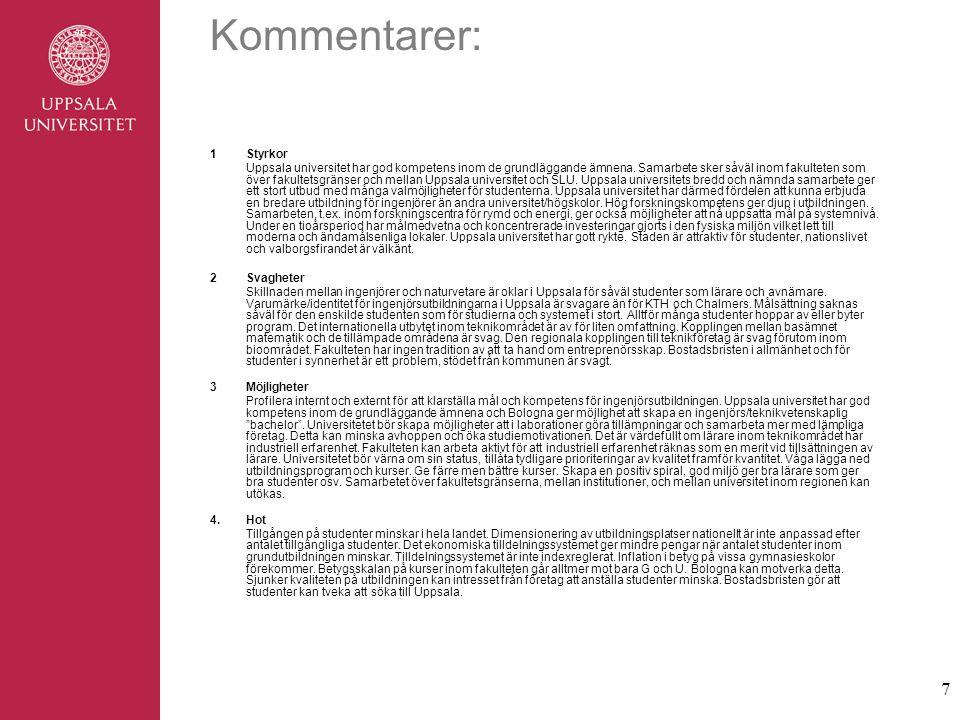 7 Kommentarer: 1Styrkor Uppsala universitet har god kompetens inom de grundläggande ämnena.