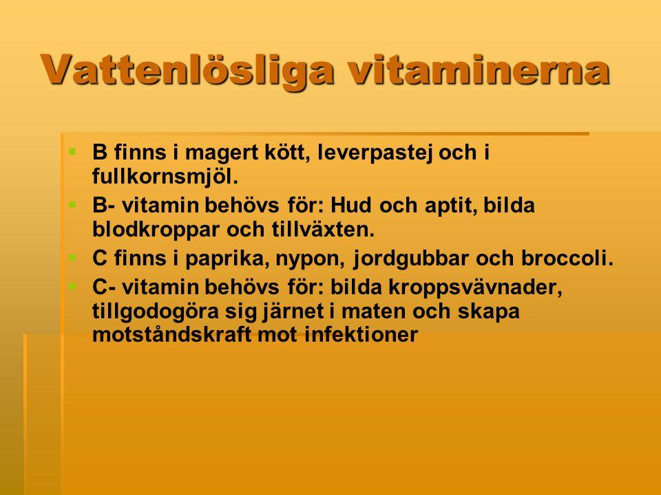 Vattenlösliga vitaminerna   B finns i magert kött, leverpastej och i fullkornsmjöl.