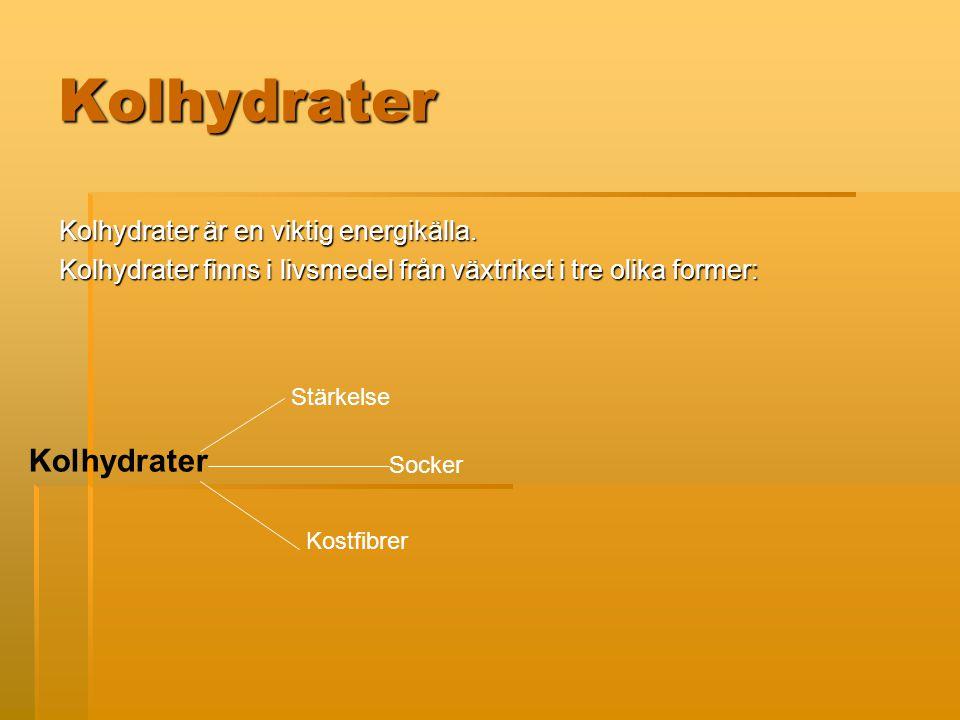 Kolhydrater Kolhydrater är en viktig energikälla.