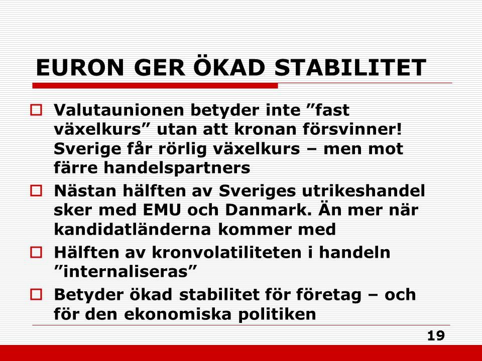 """19 EURON GER ÖKAD STABILITET  Valutaunionen betyder inte """"fast växelkurs"""" utan att kronan försvinner! Sverige får rörlig växelkurs – men mot färre ha"""