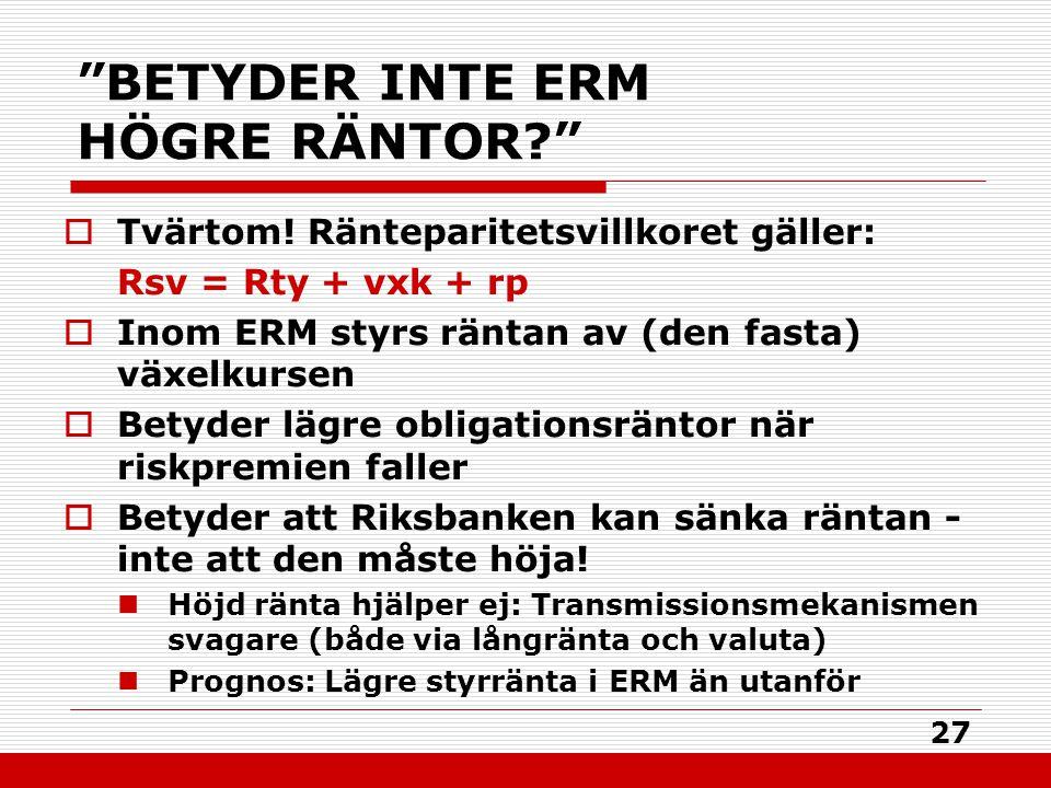"""27 """"BETYDER INTE ERM HÖGRE RÄNTOR?""""  Tvärtom! Ränteparitetsvillkoret gäller: Rsv = Rty + vxk + rp  Inom ERM styrs räntan av (den fasta) växelkursen"""
