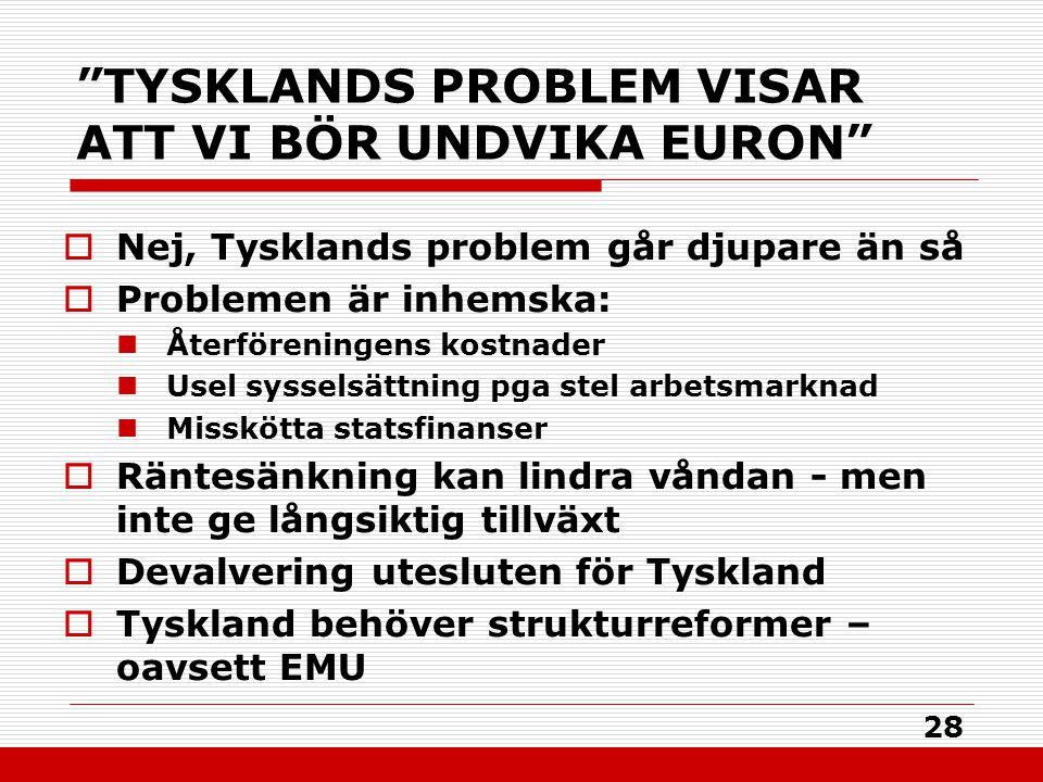"""28 """"TYSKLANDS PROBLEM VISAR ATT VI BÖR UNDVIKA EURON""""  Nej, Tysklands problem går djupare än så  Problemen är inhemska: Återföreningens kostnader Us"""