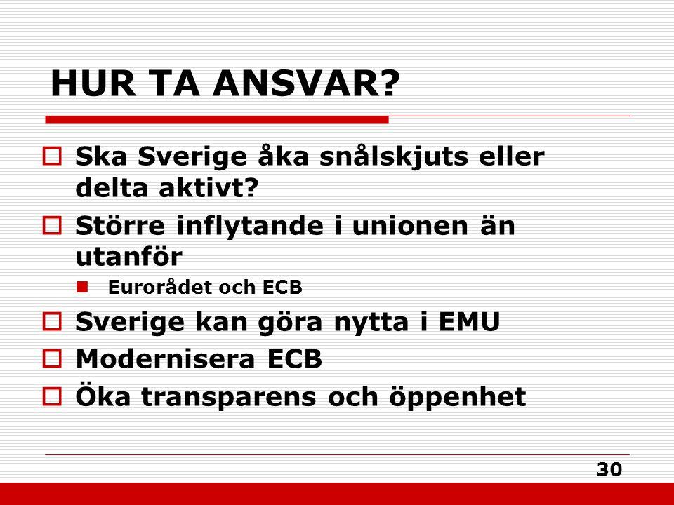 30 HUR TA ANSVAR?  Ska Sverige åka snålskjuts eller delta aktivt?  Större inflytande i unionen än utanför Eurorådet och ECB  Sverige kan göra nytta