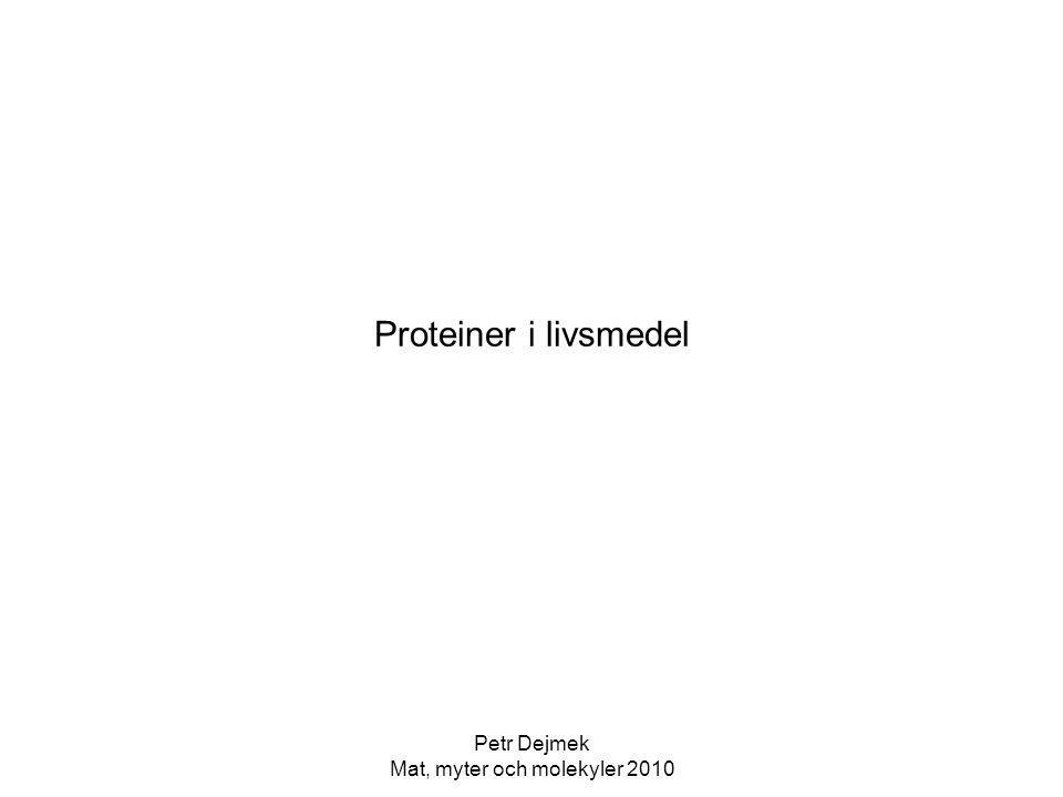 Petr Dejmek Mat, myter och molekyler 2010 Opolär gränsyta Den nativa proteinstrukturen förustätter vattenomgivning, vattnets vätebindningar driver hydrophoba sidokedjor in i proteinets inre Vid t ex luftkontakt kan de hydrophoba sidokedjorna sträcka sig in i luften och proteinet kan vecka ut sig i gränsytan (mer eller mindre, allt efter de olika proteinernas stabilitet) Ger liknande konsekvenser som vid värme, sk ytdenaturering