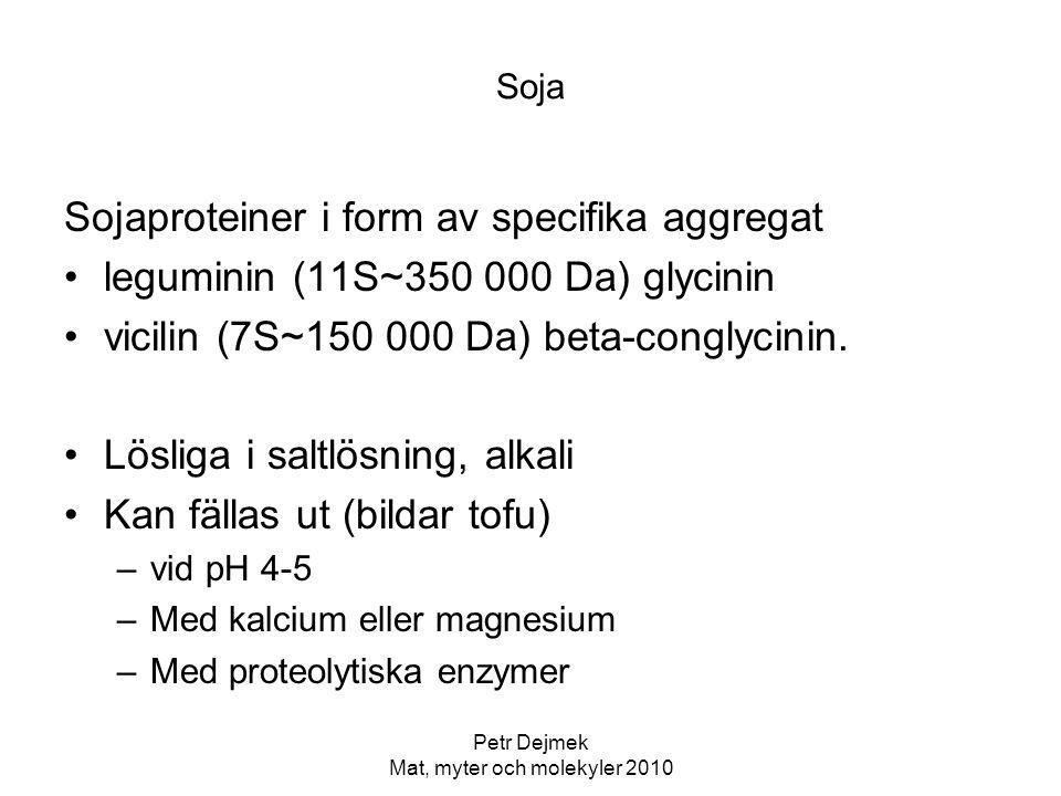 Petr Dejmek Mat, myter och molekyler 2010 Soja Sojaproteiner i form av specifika aggregat leguminin (11S~350 000 Da) glycinin vicilin (7S~150 000 Da)
