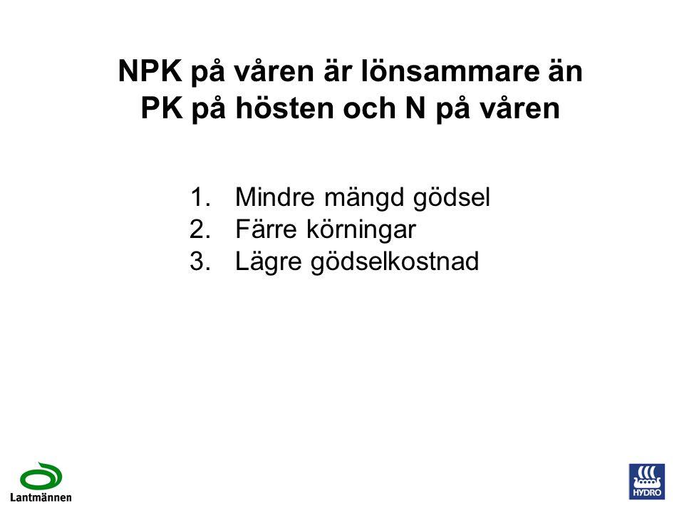 NPK på våren är lönsammare än PK på hösten och N på våren 1.Mindre mängd gödsel 2.Färre körningar 3.Lägre gödselkostnad