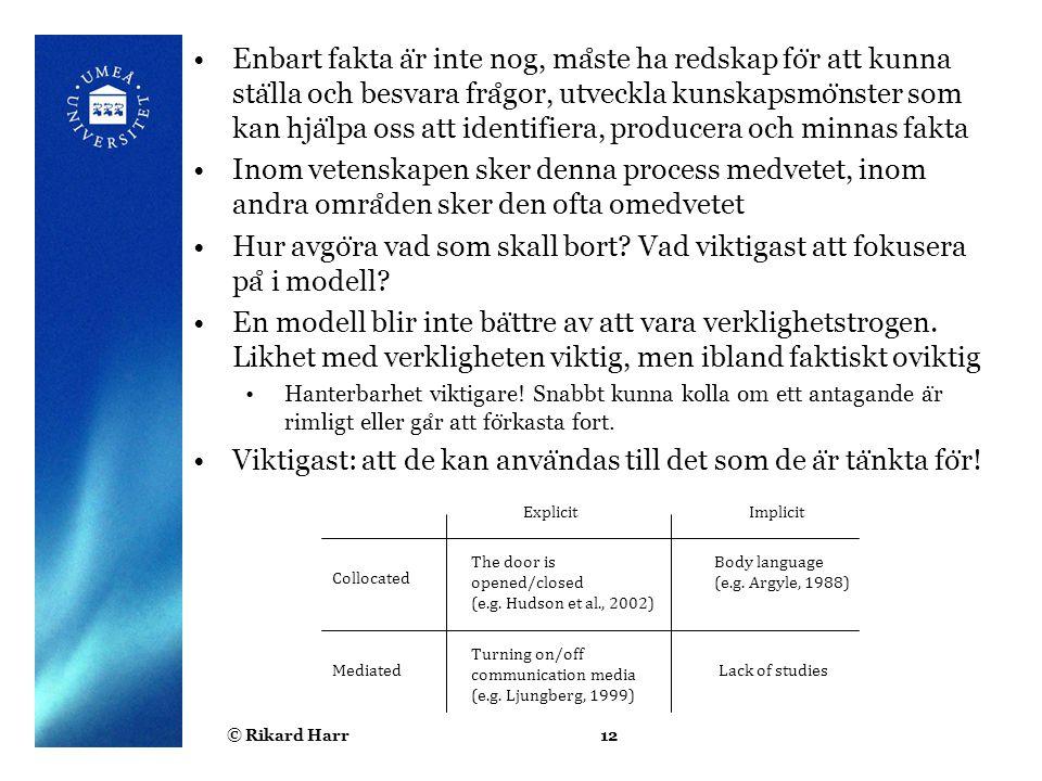 © Rikard Harr12 Enbart fakta a ̈ r inte nog, ma ̊ ste ha redskap fo ̈ r att kunna sta ̈ lla och besvara fra ̊ gor, utveckla kunskapsmo ̈ nster som kan