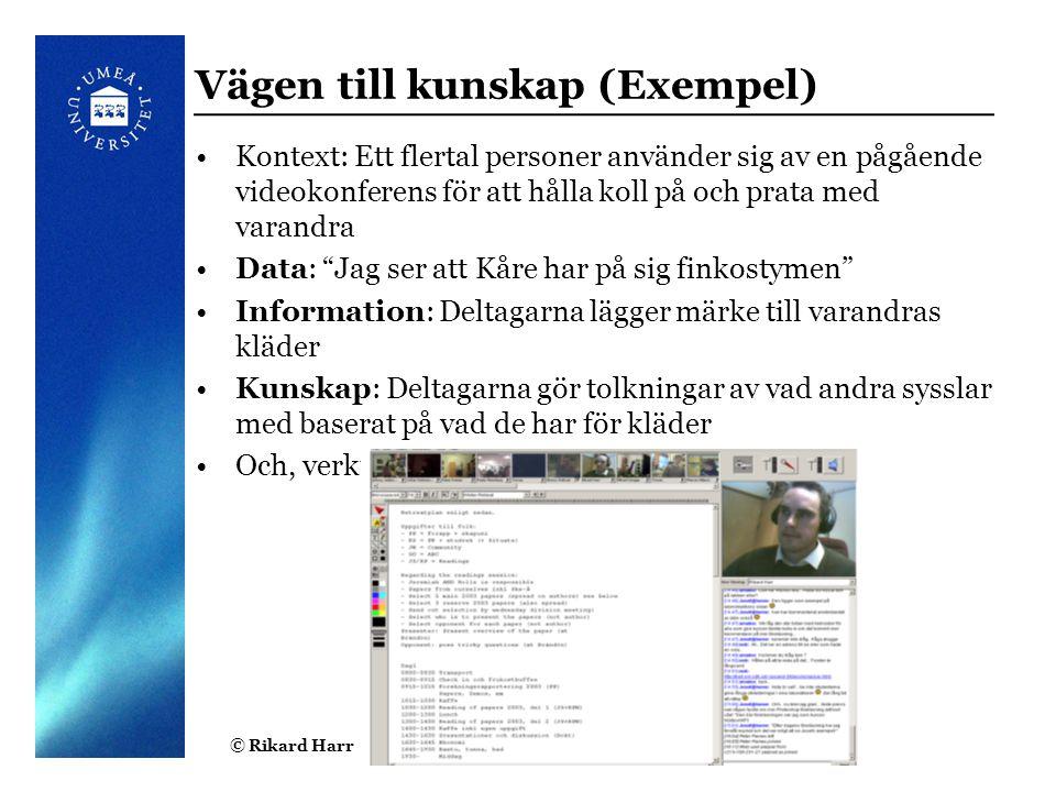 © Rikard Harr5 Vägen till kunskap (Exempel) Kontext: Ett flertal personer använder sig av en pågående videokonferens för att hålla koll på och prata m