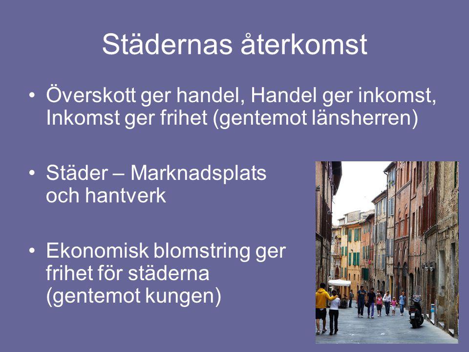 Städernas återkomst Överskott ger handel, Handel ger inkomst, Inkomst ger frihet (gentemot länsherren) Städer – Marknadsplats och hantverk Ekonomisk blomstring ger frihet för städerna (gentemot kungen)
