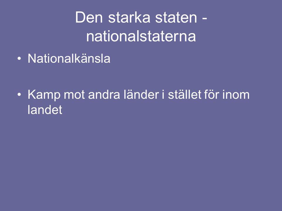Den starka staten - nationalstaterna Nationalkänsla Kamp mot andra länder i stället för inom landet