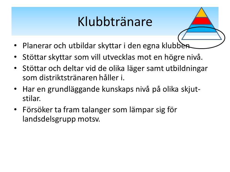 Klubbtränare Planerar och utbildar skyttar i den egna klubben Stöttar skyttar som vill utvecklas mot en högre nivå.