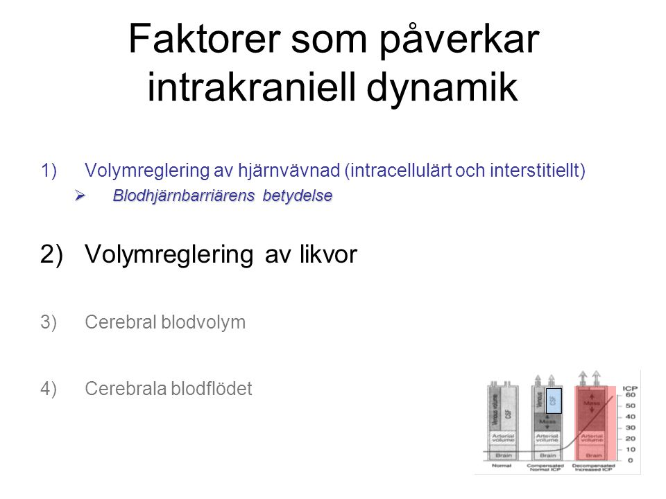 Faktorer som påverkar intrakraniell dynamik 1)Volymreglering av hjärnvävnad (intracellulärt och interstitiellt)  Blodhjärnbarriärens betydelse 2)Voly