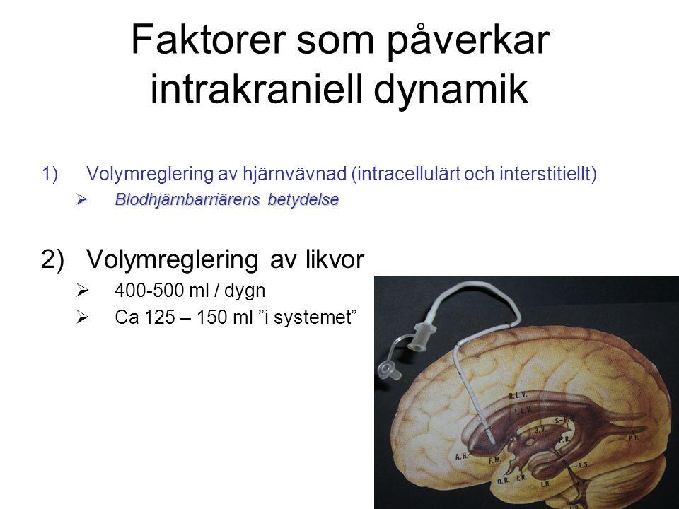 Faktorer som påverkar intrakraniell dynamik 1)Volymreglering av hjärnvävnad (intracellulärt och interstitiellt)  Blodhjärnbarriärens betydelse 2)Volymreglering av likvor  400-500 ml / dygn  Ca 125 – 150 ml i systemet 3)Cerebral blodvolym 4)Cerebrala blodflödet