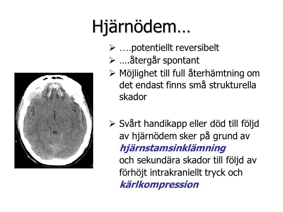Hjärnödem…  …. potentiellt reversibelt  ….återgår spontant  Möjlighet till full återhämtning om det endast finns små strukturella skador  Svårt ha