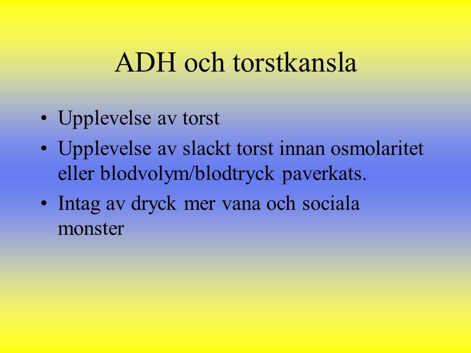 ADH och torstkansla Upplevelse av torst Upplevelse av slackt torst innan osmolaritet eller blodvolym/blodtryck paverkats. Intag av dryck mer vana och