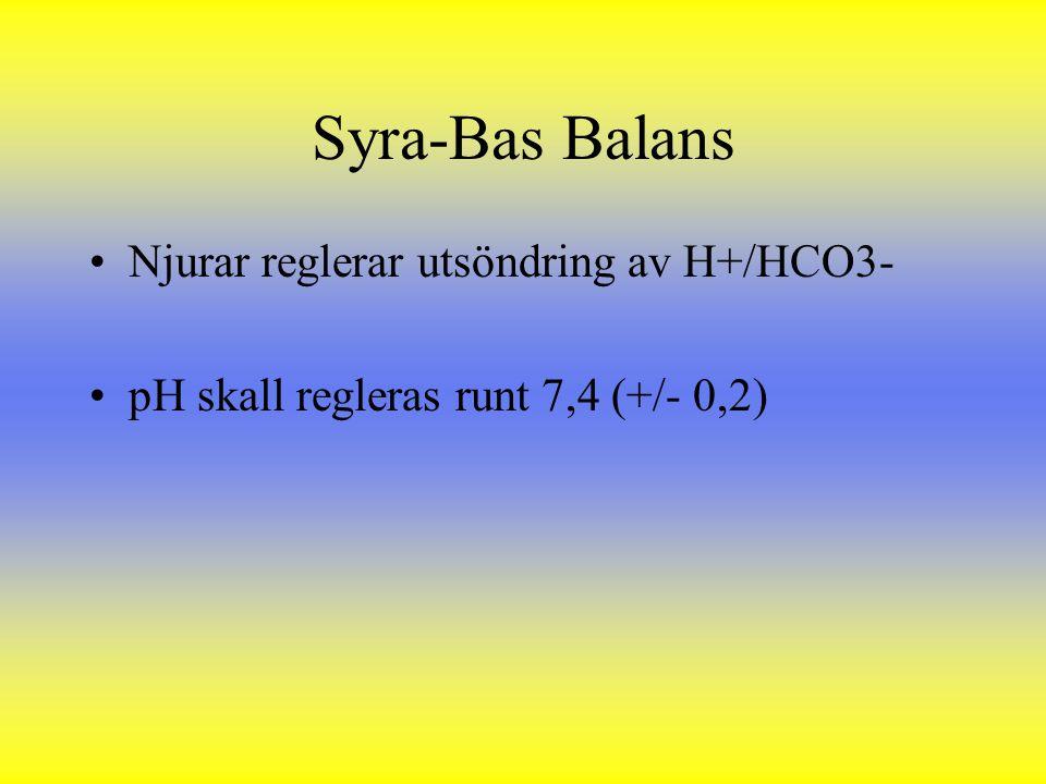Syra-Bas Balans Njurar reglerar utsöndring av H+/HCO3- pH skall regleras runt 7,4 (+/- 0,2)