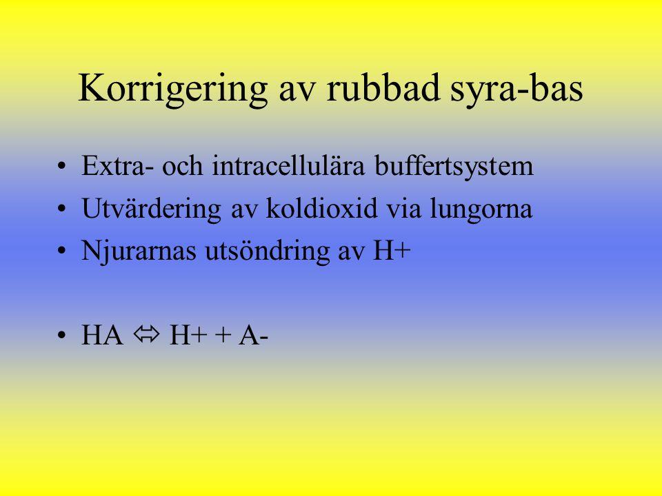 Korrigering av rubbad syra-bas Extra- och intracellulära buffertsystem Utvärdering av koldioxid via lungorna Njurarnas utsöndring av H+ HA  H+ + A-