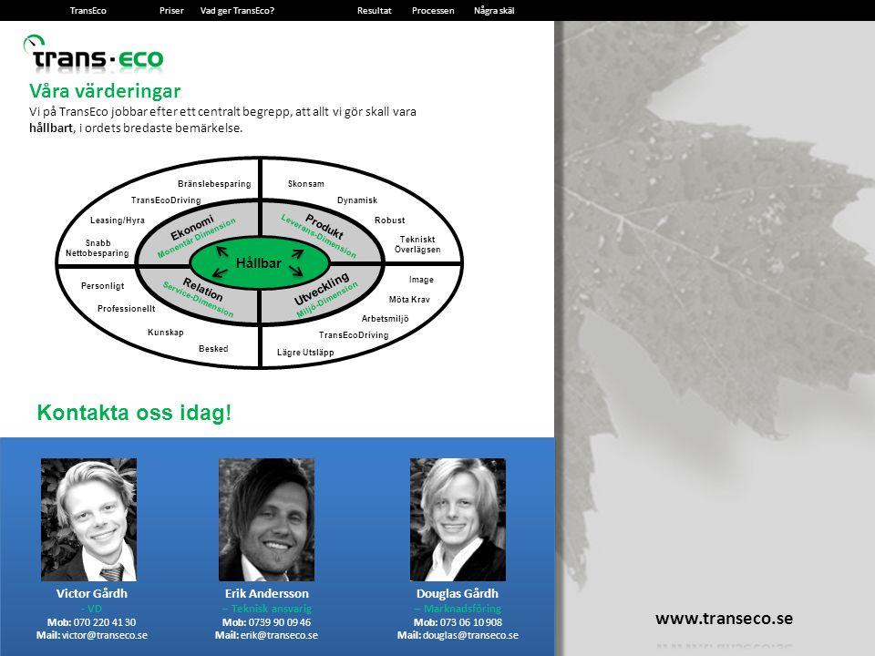 2014-12-1319 Våra värderingar Vi på TransEco jobbar efter ett centralt begrepp, att allt vi gör skall vara hållbart, i ordets bredaste bemärkelse.
