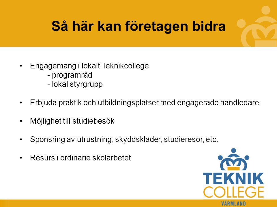 TEKNIKCOLLEGE Kriterier för Teknikcollege 1.Regionalt perspektiv 2.Infrastruktur för utbildningen 3.Tydlig profil 4.Samverkan med arbetslivet 5.Kvalitetssäkring 6.Kreativ och stimulerande lärmiljö 7.Maskiner och utrustning 8.Sammanhållna arbetsdagar 9.Lagarbete och ämnesintegration 10.Lärande i arbete 10