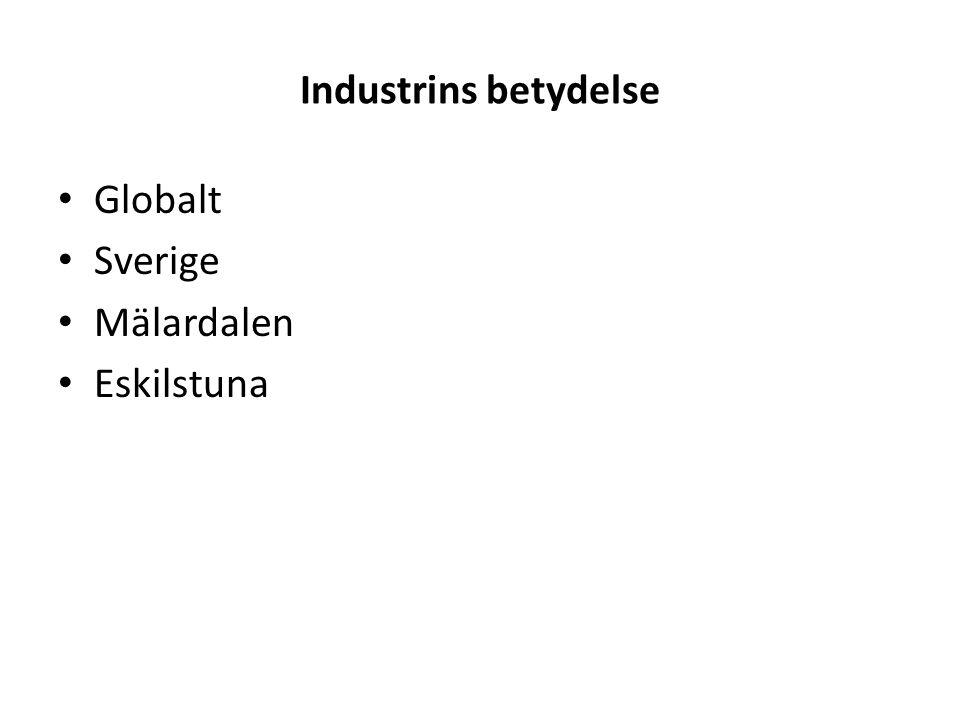 Industrins betydelse – Eskilstuna - Slutsatser Industrins exportintäkter skapar välfärd 1 industrijobb ger 1,09 jobb inom andra sektorer - 50 % i Eskilstuna För att kompensera 1 industri jobb i förädlingsvärde (BPR) åtgår 1,62 anställda inom övriga sektorer.