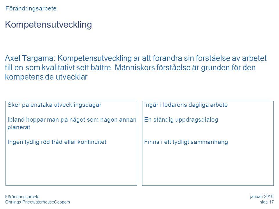 Öhrlings PricewaterhouseCoopers januari 2010 sida 17 Förändringsarbete Kompetensutveckling Axel Targama: Kompetensutveckling är att förändra sin förståelse av arbetet till en som kvalitativt sett bättre.