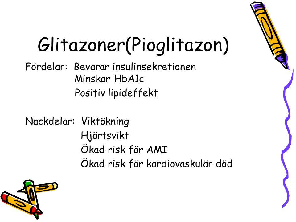 Glitazoner(Pioglitazon) Fördelar: Bevarar insulinsekretionen Minskar HbA1c Positiv lipideffekt Nackdelar: Viktökning Hjärtsvikt Ökad risk för AMI Ökad