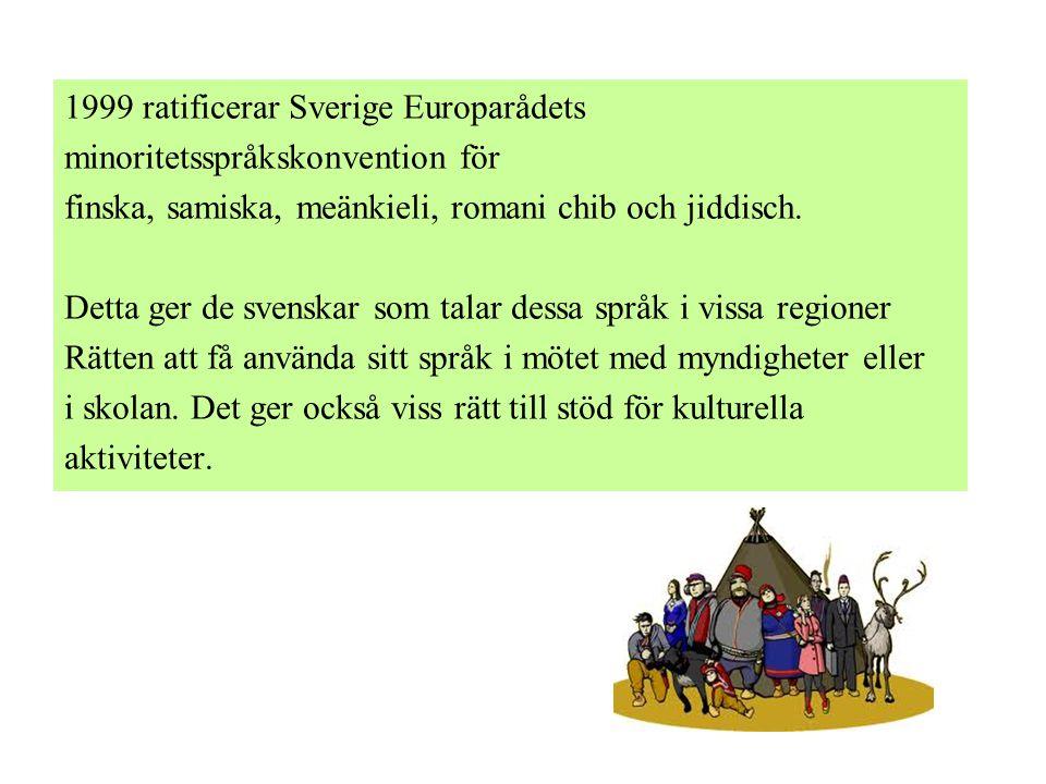 1999 ratificerar Sverige Europarådets minoritetsspråkskonvention för finska, samiska, meänkieli, romani chib och jiddisch. Detta ger de svenskar som t