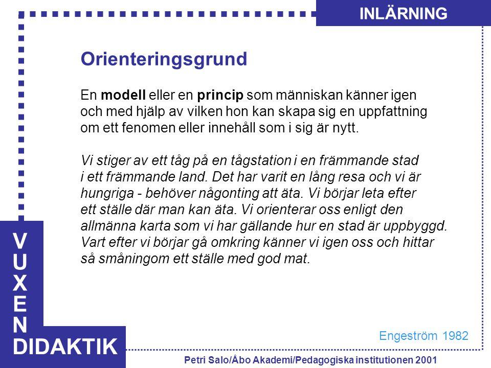 VUXENVUXEN DIDAKTIK INLÄRNING Petri Salo/Åbo Akademi/Pedagogiska institutionen 2001 Orienteringsgrund En modell eller en princip som människan känner