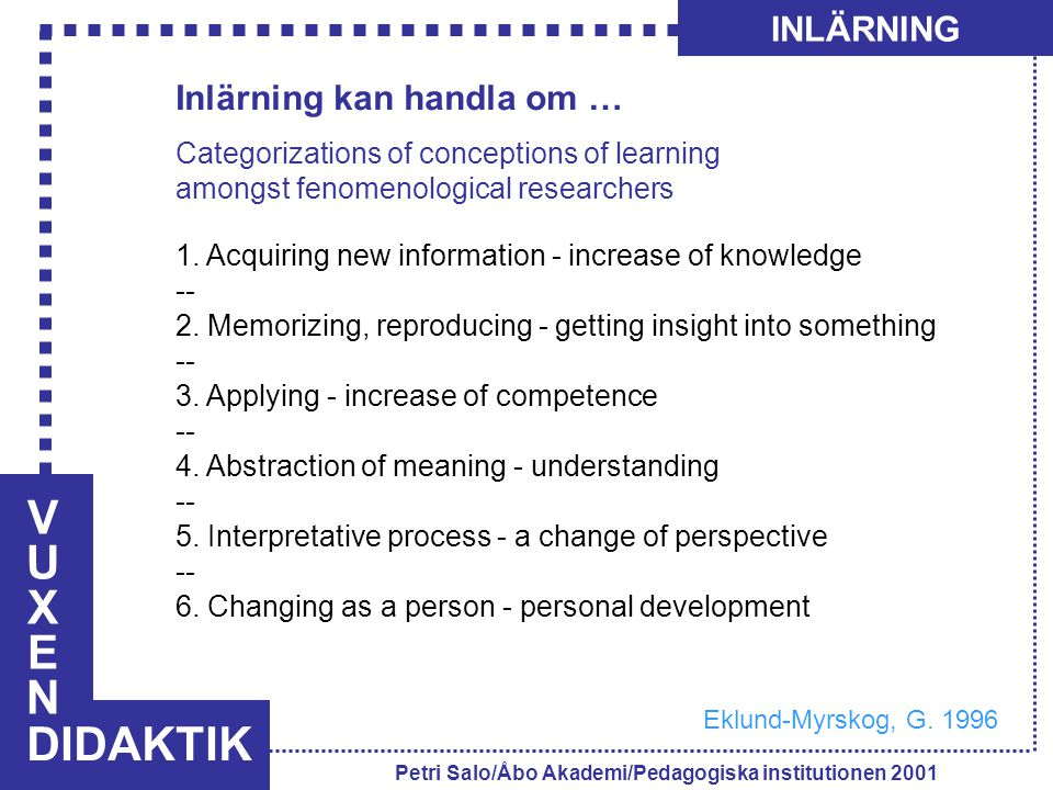 VUXENVUXEN DIDAKTIK INLÄRNING Petri Salo/Åbo Akademi/Pedagogiska institutionen 2001 Inlärning kan handla om … Categorizations of conceptions of learning amongst fenomenological researchers 1.