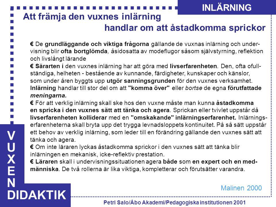 VUXENVUXEN DIDAKTIK INLÄRNING Petri Salo/Åbo Akademi/Pedagogiska institutionen 2001 € De grundläggande och viktiga frågorna gällande de vuxnas inlärni