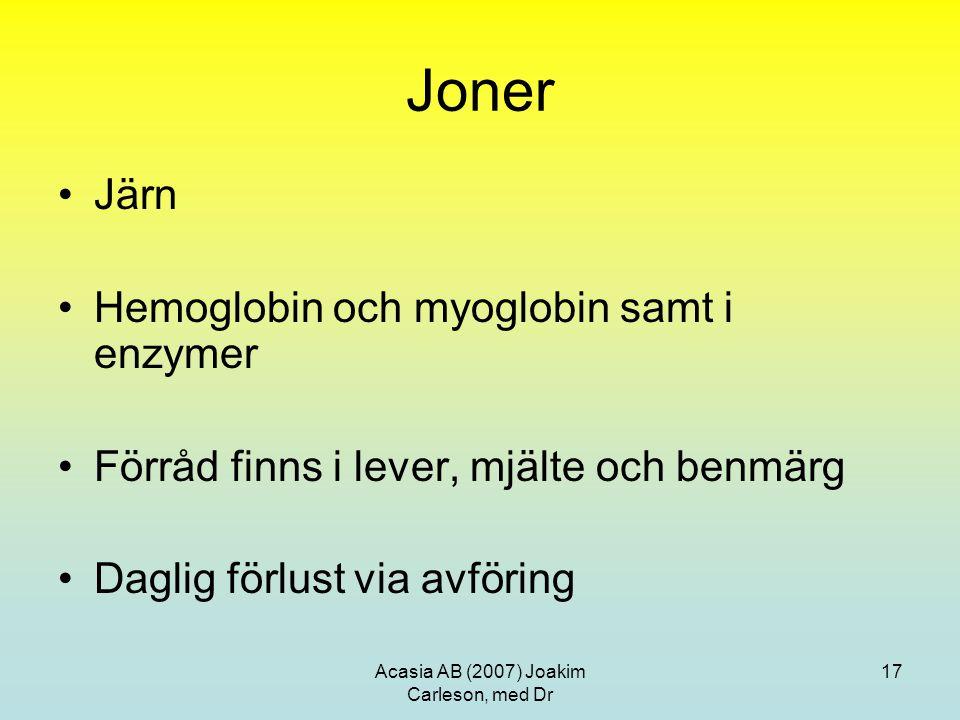 Acasia AB (2007) Joakim Carleson, med Dr 17 Joner Järn Hemoglobin och myoglobin samt i enzymer Förråd finns i lever, mjälte och benmärg Daglig förlust