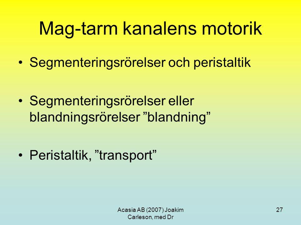 Acasia AB (2007) Joakim Carleson, med Dr 27 Mag-tarm kanalens motorik Segmenteringsrörelser och peristaltik Segmenteringsrörelser eller blandningsröre