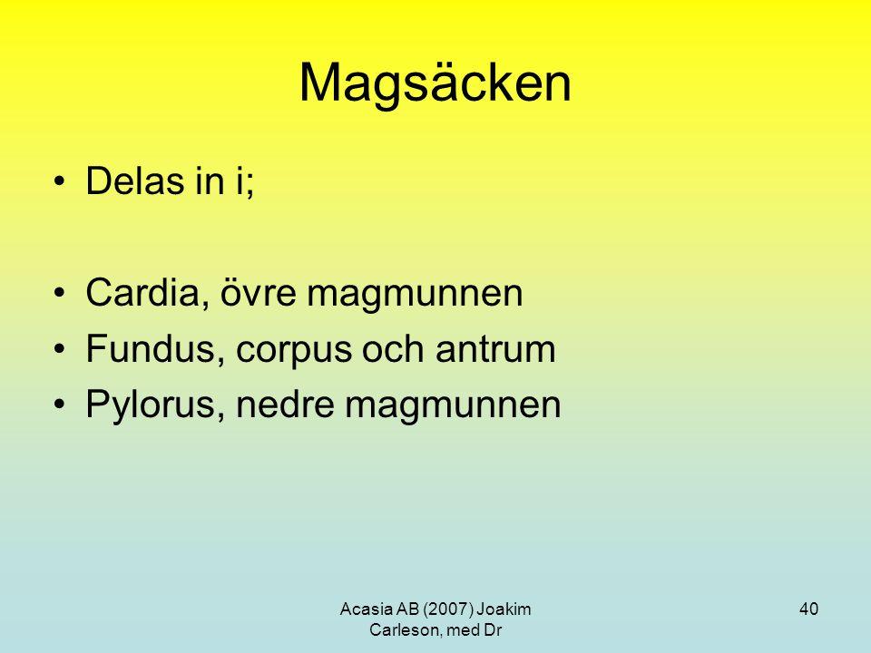 Acasia AB (2007) Joakim Carleson, med Dr 40 Magsäcken Delas in i; Cardia, övre magmunnen Fundus, corpus och antrum Pylorus, nedre magmunnen