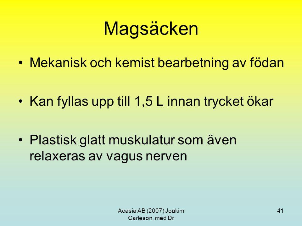 Acasia AB (2007) Joakim Carleson, med Dr 41 Magsäcken Mekanisk och kemist bearbetning av födan Kan fyllas upp till 1,5 L innan trycket ökar Plastisk g