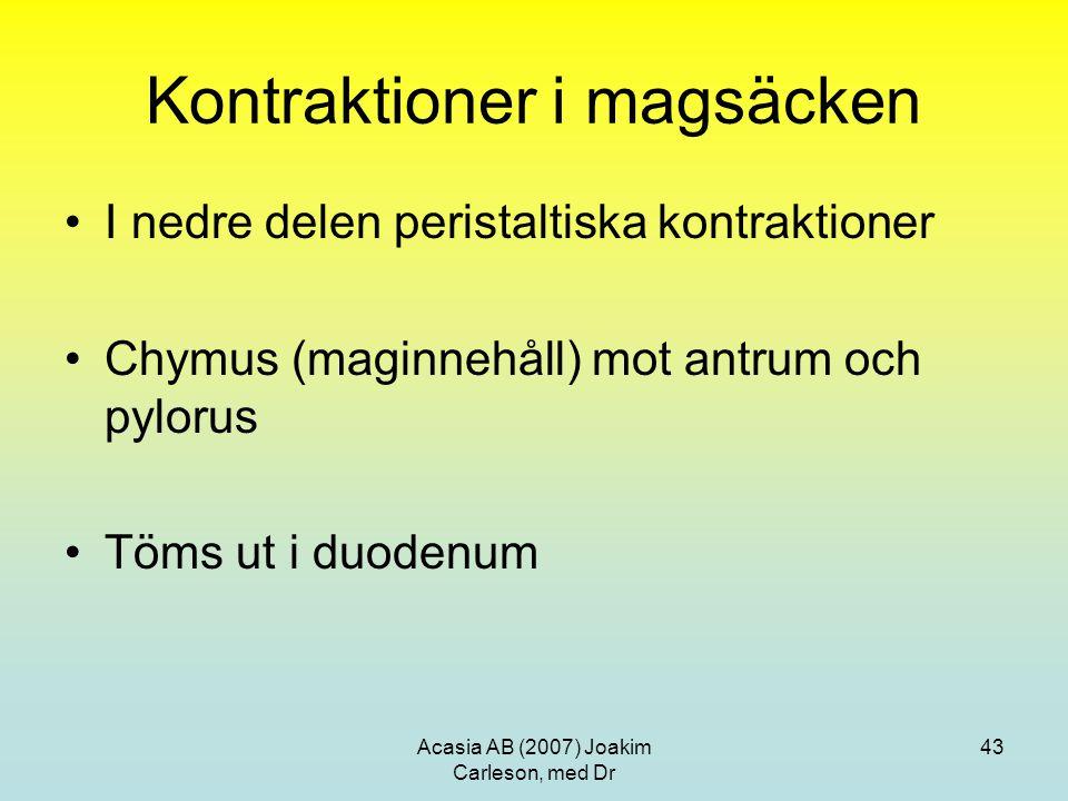 Acasia AB (2007) Joakim Carleson, med Dr 43 Kontraktioner i magsäcken I nedre delen peristaltiska kontraktioner Chymus (maginnehåll) mot antrum och py