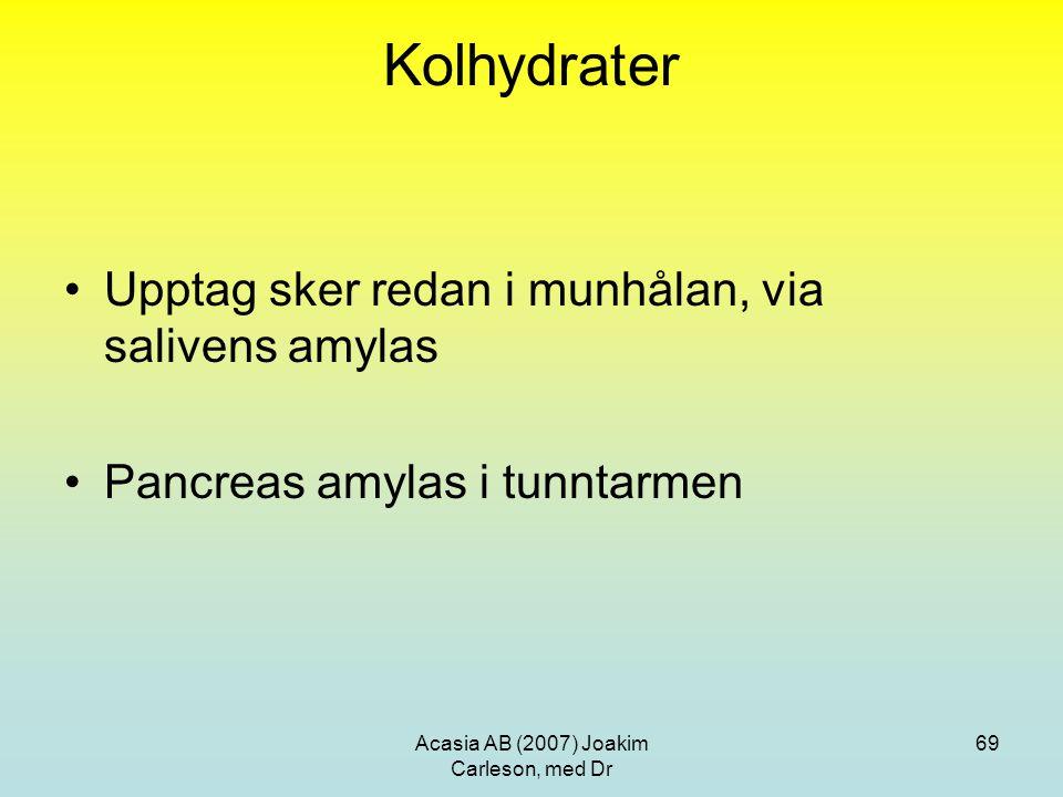 Acasia AB (2007) Joakim Carleson, med Dr 69 Kolhydrater Upptag sker redan i munhålan, via salivens amylas Pancreas amylas i tunntarmen
