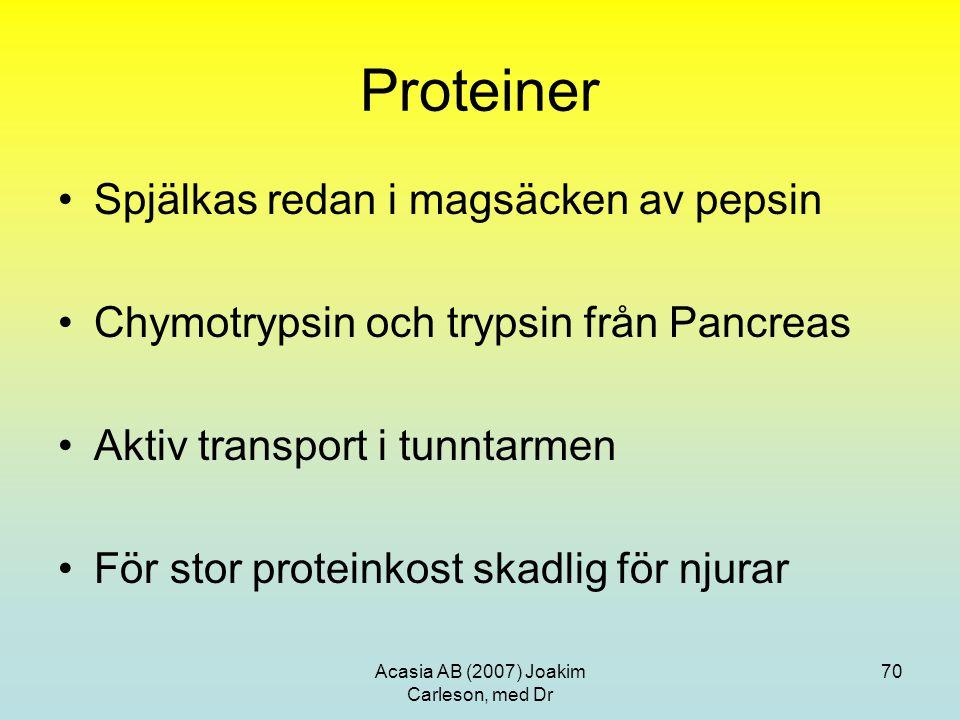 Acasia AB (2007) Joakim Carleson, med Dr 70 Proteiner Spjälkas redan i magsäcken av pepsin Chymotrypsin och trypsin från Pancreas Aktiv transport i tu
