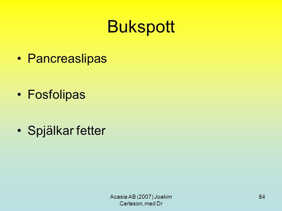 Acasia AB (2007) Joakim Carleson, med Dr 84 Bukspott Pancreaslipas Fosfolipas Spjälkar fetter