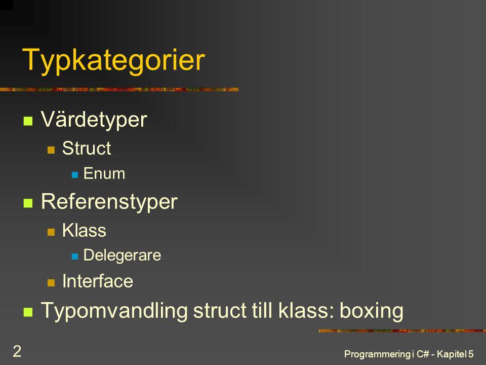 Programmering i C# - Kapitel 5 2 Typkategorier Värdetyper Struct Enum Referenstyper Klass Delegerare Interface Typomvandling struct till klass: boxing